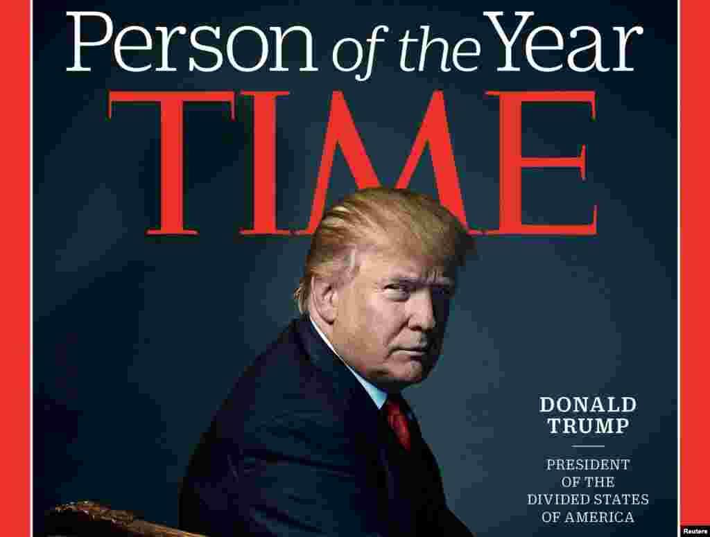 """美國《時代》周刊2016年12月期封面的主要部分。這家雜誌選擇川普為年度風雲人物,並且將這位侯任的美利堅合眾國總統稱為""""美利堅分裂國"""" 總統。川普承認他將掌權的是一個政治分化的國家,但他否認他導致分裂說法。川普說:""""現在有很大的分裂。我們將彌合這一分裂。我們將讓美國的裂痕癒合得非常好。我們還將形成一個偉大的經濟力量,而且我們將加強我們的軍隊和安全。我們將做許多偉大的事情。"""" 民主黨人希拉里•克林頓在普選中獲得的選票比川普多出了將近270萬張,但川普在選舉人團中贏得了更多的選票,因而勝出。"""