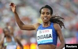 L'Éthiopienne Genzebe Dibaba, à Lausanne, en Suisse, le 25 août 2016.
