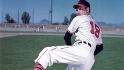 Cleveland Indians pitcher Bob Feller is shown at spring baseball training in 1959.