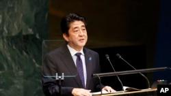 日本首相安倍晉三9月25日在聯合國發表講話。