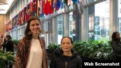 Bà Nguyễn Thị Hải, giáo dân Cồn Dầu, và Cô Crystal Corman, nhân viên thuộc Phòng Tự Do Tôn Giáo Quốc Tế, tại Bộ Ngoại Giao Hoa Kỳ, ngày 7/11/2018 (ảnh BPSOS)