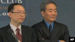 余杰和吳宏達1月18日在華盛頓的記者會上回答記者問題