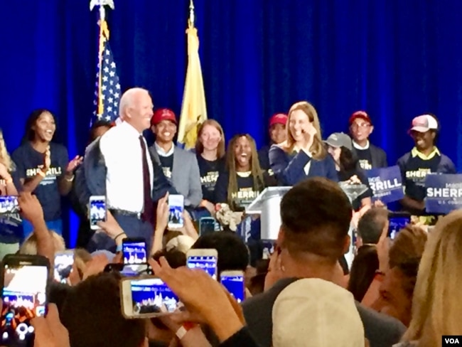 Former Vice President Joe Biden campaigned with Mikie Sherrill a New Jersey Democratic candidate for Congress