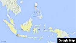 印度尼西亚地理位置 (谷歌地图)