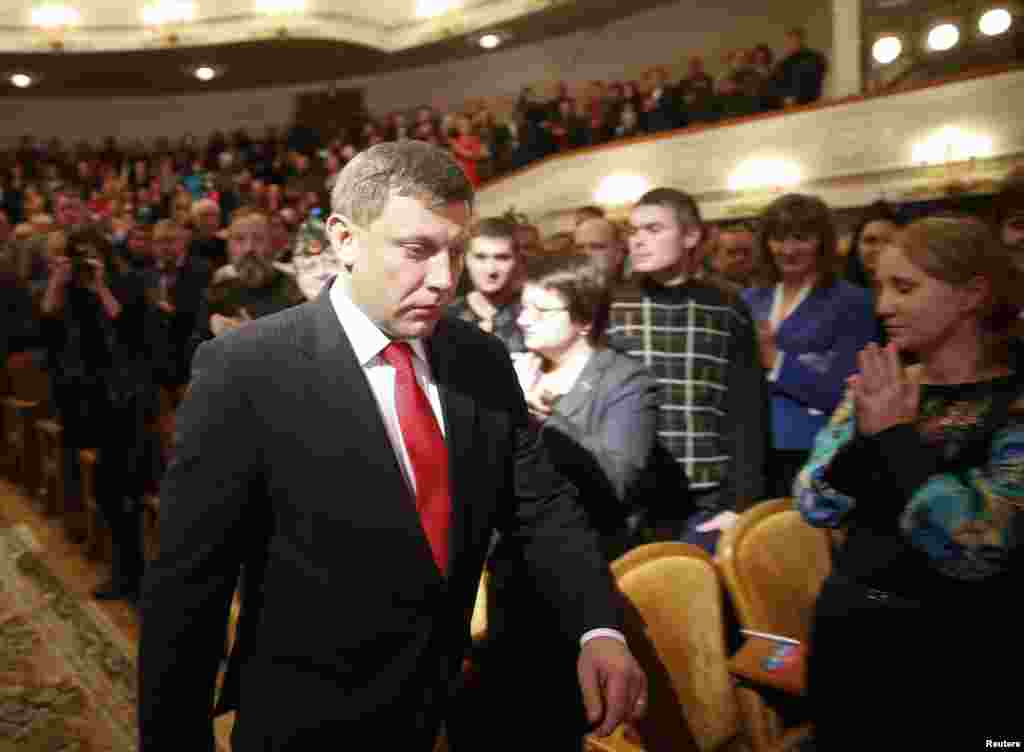 Pro-Russian rebel leader Alexander Zakharchenko arrives for the inauguration ceremony, Donetsk, eastern Ukraine, Nov. 4, 2014.