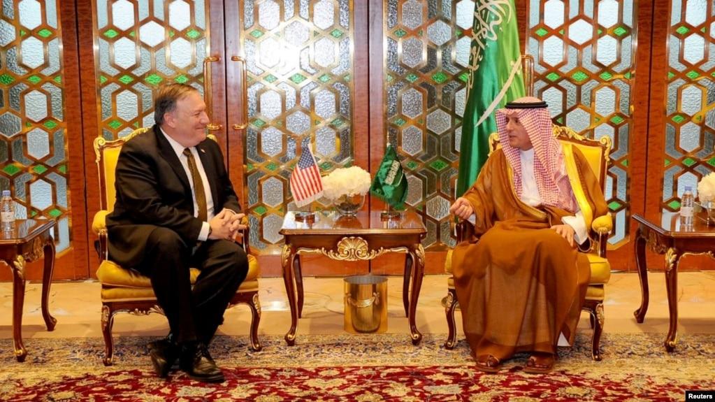 U.S. Secretary of State Mike Pompeo meets with Saudi Foreign Minister Adel Al-Jubeir in Riyadh, Saudi Arabia, April 28, 2018.