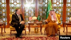U.S. Secretary of State Mike Pompeo meets with Saudi Foreign Minister Adel Al-Jubeir in Riyadh, Saudi Arabia, April 28, 2018.