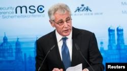 Bộ trưởng Quốc phòng Mỹ Chuck Hagel phát biểu tại Hội nghị An ninh Munich ở Khách sạn Bayerischer Hof, Munich, 1/2/2014