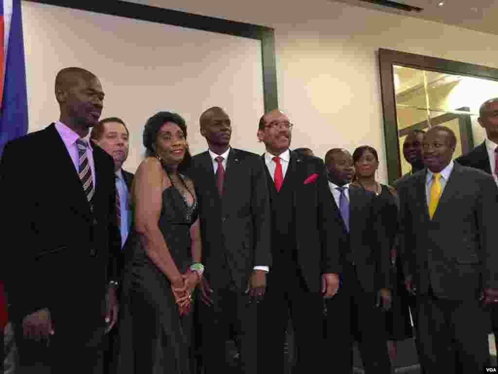 Haiti's President-elect Jovenel Moise (4th from Left) attends a party in his honor hosted by the Haitian diaspora in Port-au-Prince, Haiti. (Photo: VOA Creole Service)