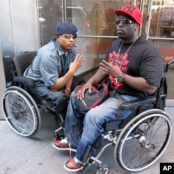 The Hip-Hop duo 4-Wheel City often raps about disability issues