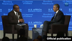 Takunda Chingonzo with President Barack Obama at the U.S.-African Business Forum in Washington D.C.