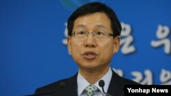 김의도 한국 통일부 대변인이 20일 정부서울청사에서 정례브리핑하고 있다.
