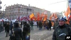 俄羅斯民眾2月4日在莫斯科舉行反政府遊行