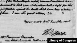 Thomas Jefferson's letter to Benjamin Banneker, August 30, 1791, from the U.S. Library of Congress collection.