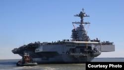 福特号航母2017年4月8日首次试航测试(美国海军照片)