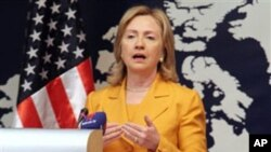 US Secretary of State Hillary Rodham Clinton speaks at a press conference in Manama, Bahrain, 03 Dec 2010