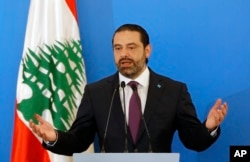 Lebanese Prime Minister Saad Hariri speaks during a press conference in Beirut, Lebanon, May 7, 2018.