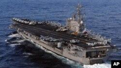 美國海軍里根號核動力航空母艦 (資料照片)