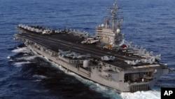 미국 해군의 핵 추진 항공모함 로널드레이건 호. (자료사진)