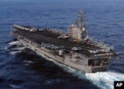 Chiếc USS Ronald Reagan phục vụ như một lực lượng phản ứng nhanh đối với bất kỳ hành vi khiêu khích nào có thể xảy ra trong khu vực.
