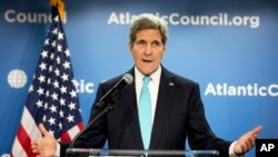 케리 미 국무장관이 올해 초 워싱턴에서 열린 대서양위원회에서 기후변화에 대해 연설하고 있다( 자료사진)