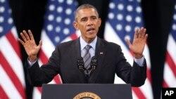 奧巴馬總統11月21日在拉斯維加斯一所高中講話,為自己的移民改革行政命令進行辯護。