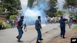 Manifestantes em Bujunbura.