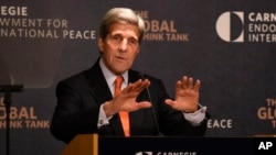 Then secretary of state John Kerry discusses U.S. policy toward the Middle East, Oct. 28, 2015, in a speech at the Carnegie Endowment for International Peace in Washington. Kerry is joining the Washington think tank to serve as its first visiting distinguished statesman.