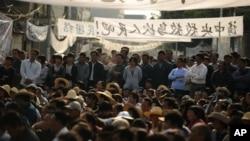 广东乌坎民众集会要求政府采取行动制止非法征地