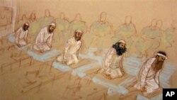 由法庭画师Janet Hamlin绘制并经美国国防部审核的素描显示五名被告在关塔纳摩湾出庭时跪在椅子上祷告。