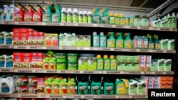 Weedkillers including Monsanto's Roundup are displayed for sale at a garden shop at Bonneuil-Sur-Marne near Paris, France, June 16, 2015. F