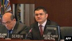 Vuk Jeremić tokom današnjeg obraćanja članovima stalnog saveta Organizacije američkih država u Vašingtonu