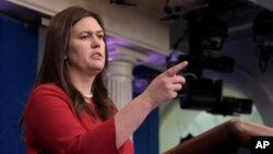 White House press secretary Sarah Huckabee Sanders speaks during the daily briefing at the White House in Washington, Aug. 2, 2017.