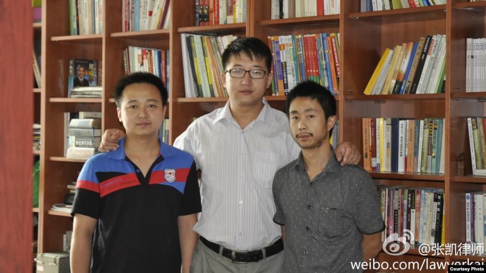 Beijing Lawyer Zhang Kai, Wu Liangjie (L) and Deng Jiyuan (R)