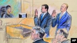 طرحی از پل منافورت و ریک گیتس، یکی از شرکای او که در این پرونده علیه او نیز اعلام جرم شده، در دادگاه.