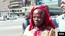 FILE: One of the protestors Martin Jemwa sustained a head cut after he was assaulted by police using a baton stick. He was taken to a private hospital where his condition was said to be stable, Harare, Zimbabwe, Aug. 17, 2016. (S. Mhofu/VOA)