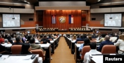 A session of the National Assembly takes place in Havana, Cuba, April 18, 2018.