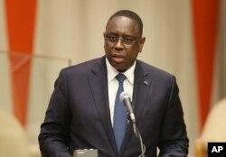 FILE - Macky Sall, the president of Senegal.