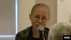 已故中国诺贝尔和平奖得主刘晓波的遗孀刘霞在纽约出席公开活动