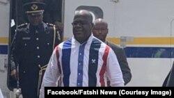 Le président Félix Tshisekedi à sa descente d'avion à Beni, Nord-Kivu, le 16 avril 2019. (Facebook/Fatshi News)