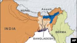 Peta wilayah Assam, India.