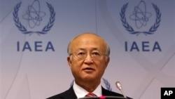 10일 오스트리아 빈에서 열린 IAEA 이사회에서 발언하는 아마노 유키아 사무총장.