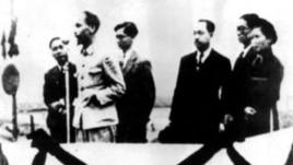 Hồ Chí Minh đọc tuyên ngôn độc lập trên quảng trường Ba Đình ngày 2 tháng 9 năm 1945.