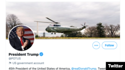 Official @POTUS page of Donald Trump in Twitter