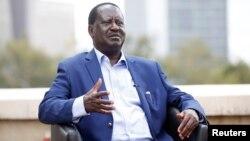 Kenyan opposition leader Raila Odinga of the National Super Alliance coalition speaks with Reuters in Nairobi, Kenya, Nov. 7, 2017.