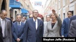 Christine Lagarde, directrice du FMI, en compagnie du Premier ministre tunisien Habib Essid le 8 septembre 2015.