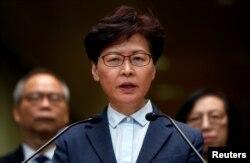 香港特首林郑月娥2019年7月22日在香港举行记者会。