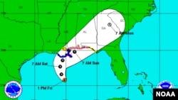 Se espera que el ojo de la tormenta cruce el litoral de la frontera entre los estados de Alabama y Misisipi alrededor del sábado por la noche.