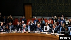 Les membres du Conseil de sécurité des Nations unies lors d'un vote à l'ONU, New York, le 24 février 2018.