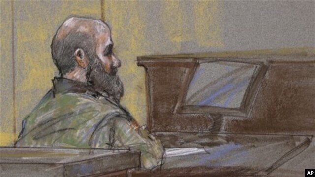 U.S. Army Maj. Nidal Malik Hasan shown as the guilty verdict is read at his court martial, Fort Hood, Texas, Aug. 27, 2013.
